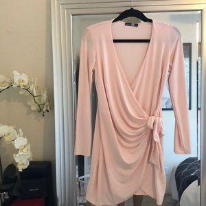 Boohoo Blush Jersey Wrap Dress